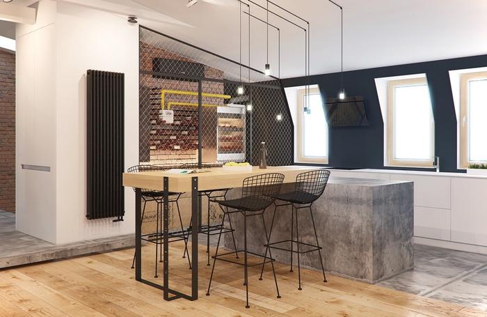 cuisine industrielle aux lignes pures at au design contemporain associant le bois et le béton