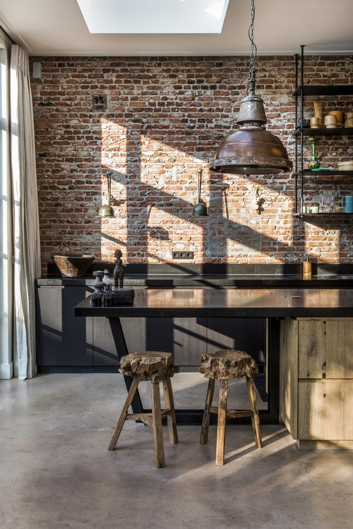 deco industrielle d'inspiration récup pour un aspect cuisine d'atelier