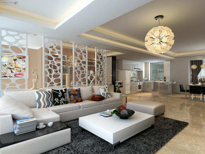 déco salon cocooning, tapis gris moelleux, cloisons blanches, plafonnier original, table basse blanche, coussins décoratifs