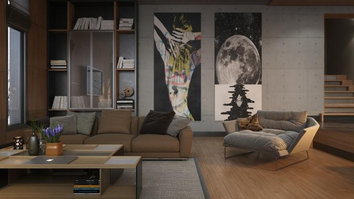 déco salon cocooning, étagère minimaliste, peintures artistiques, tales-basses en bois et métal