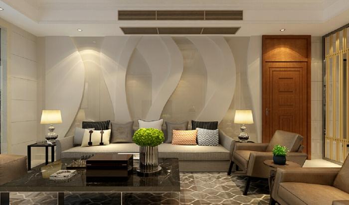 déco salon cocooning, fauteuils marrons, porte marronne, tapis géométrique, déco avec plantes vertes, grande table