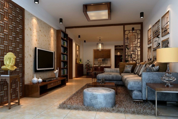 déco salon cocooning, tapis moelleux, tabouret rond, sofa bleu, cloisons en bois, plafonnier carré