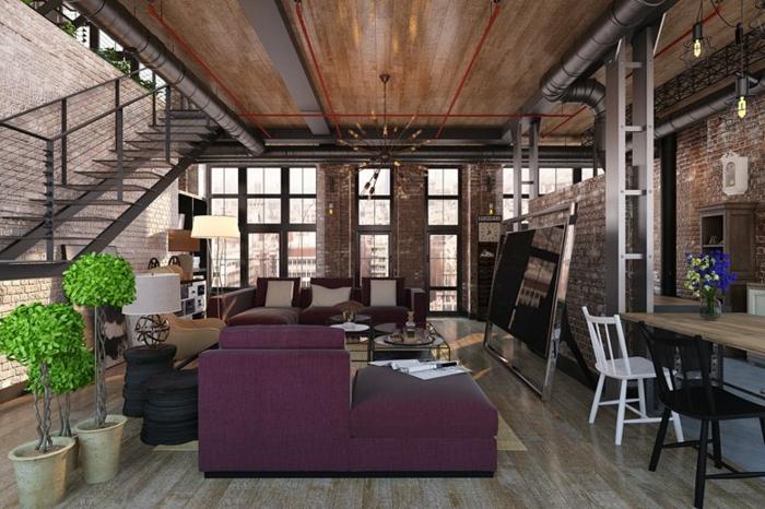 déco salon salle à manger, mobilier moderne, sol en bois, fenêtres du sol au plafond, escalier industriel