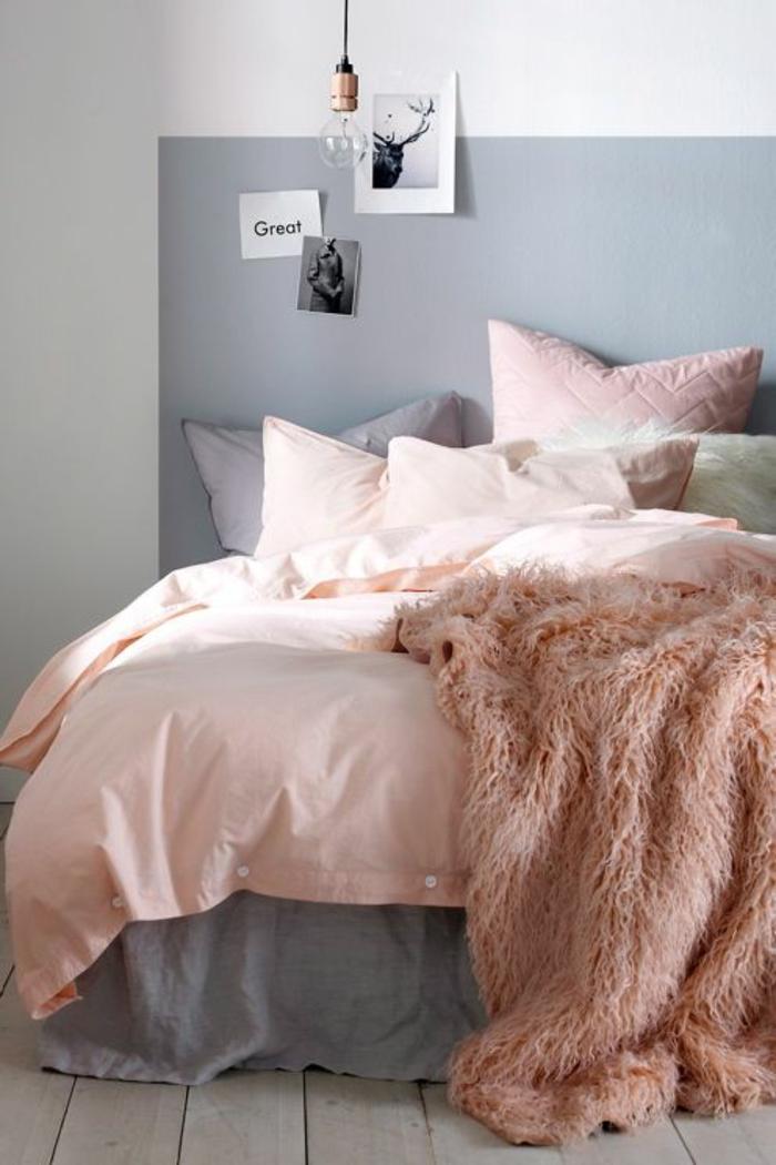 deco chambre adulte en gris et rose un bon mariage de couleurs lit avec coverture en fausse fourrure colorée