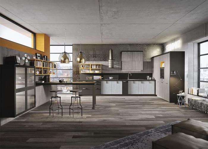 cuisine d'esprit loft industriel d'une ambiance feutrée dominée par les nuances de gris