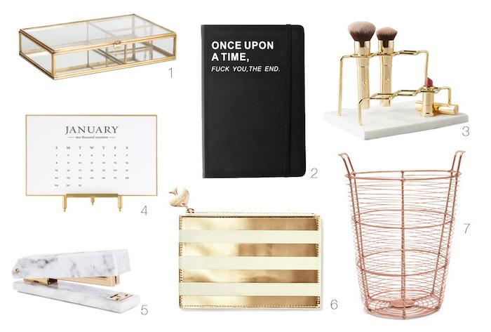 materiel de bureau, poubelle bureau peint en rose pastel, porte-monnaie rayée en jaune et or