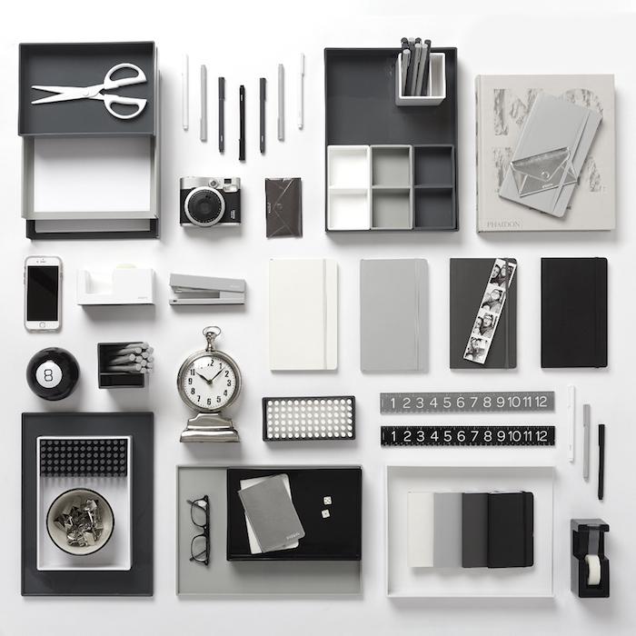 fourniture de bureau, organisateur bureau gris et noir pour accessoires, agenda en différentes nuances