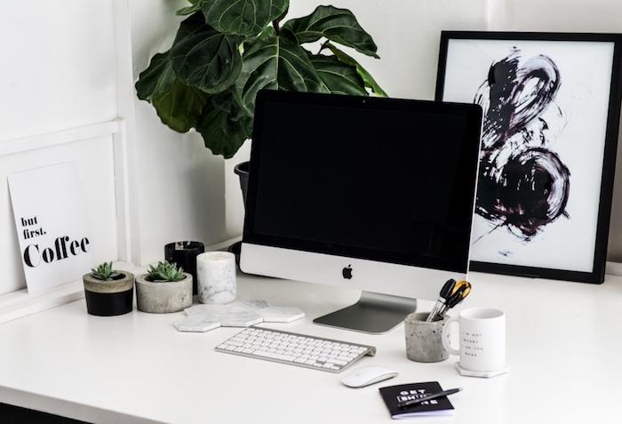 meuble bureau, petits cactus verts dans pot à fleur imitation béton, bureau de travail en blanc