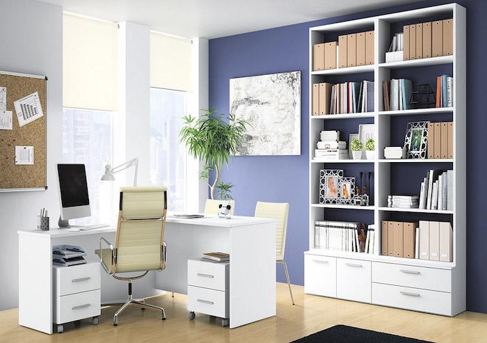materiel de bureau, espace de travail aux murs blancs et bleus avec sol en bois, classeurs papiers en rose pastel