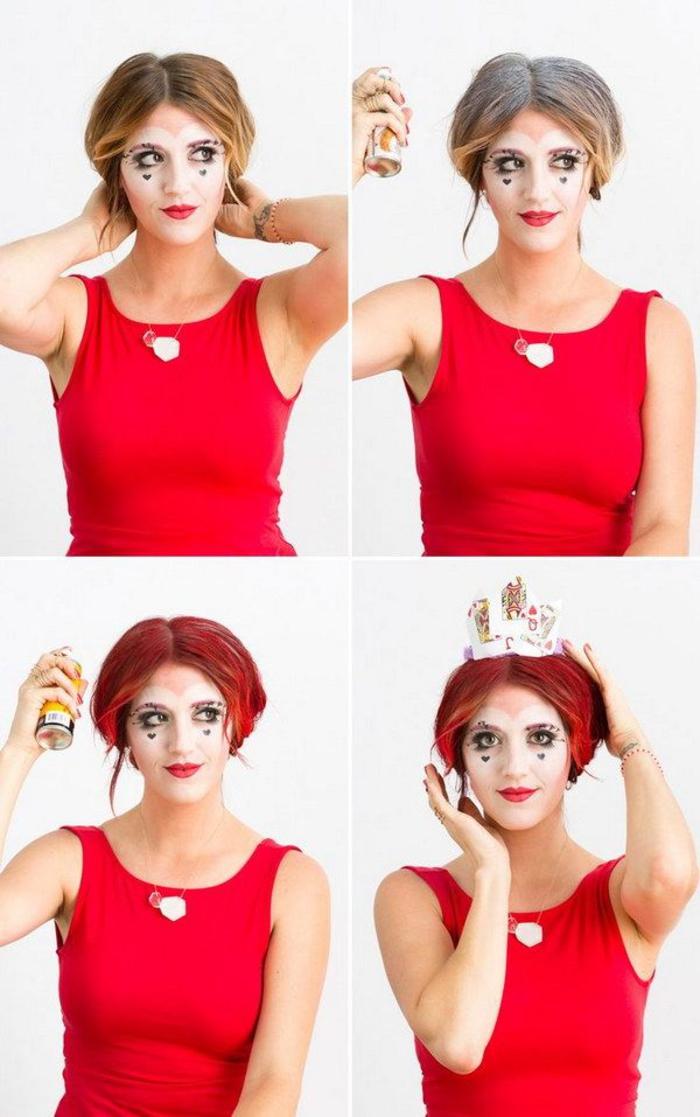 une idée de maquillage halloween facile et orininale de reine de coeur réalisé avec des produits maquillage de tous les jours