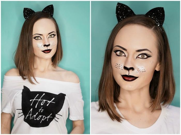 déguisement halloween femme fait maison, tee-shir blanc avec silhouette de chat, oreilles de chat noirs, maquillage museau, moustaches
