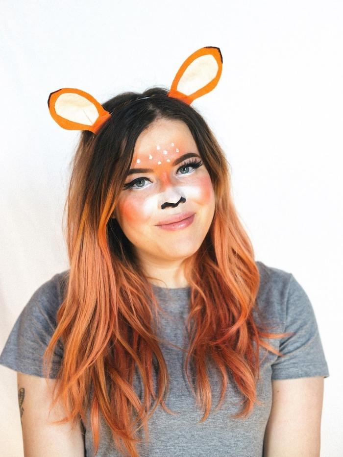 maquillage pour halloween rapide et facile inspiré du filtre snapchat cerf, maquillage de cerf artistique aux nuance d'orange