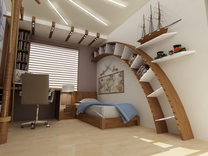 deco interieur, étagère verticale en bois foncé, lampe de chevet blanc avec pied métallique