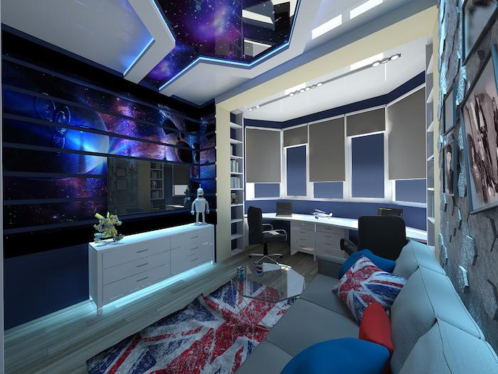 intérieur d'inspiration univers, canapé en gris avec coussins décoratifs à design anglais
