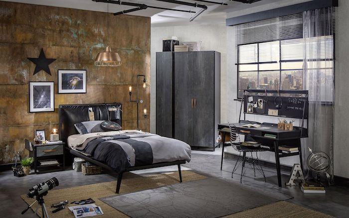 interieur de nuances grises et marron, plafond blanc avec tuyaux noirs de style industriel