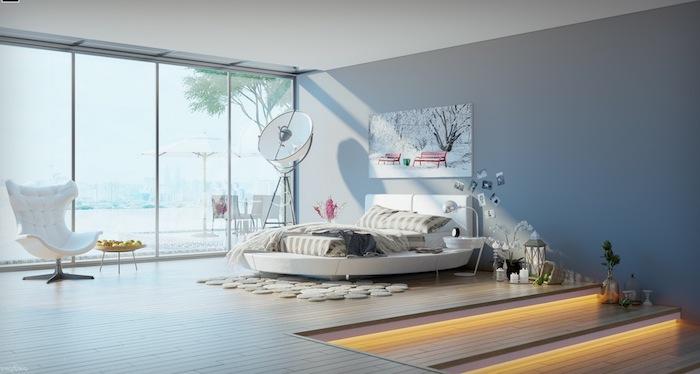 chambre gris et blanc avec parquet clair, mur gris, lit rond blanc, accessoires decoratifs zen cocooning