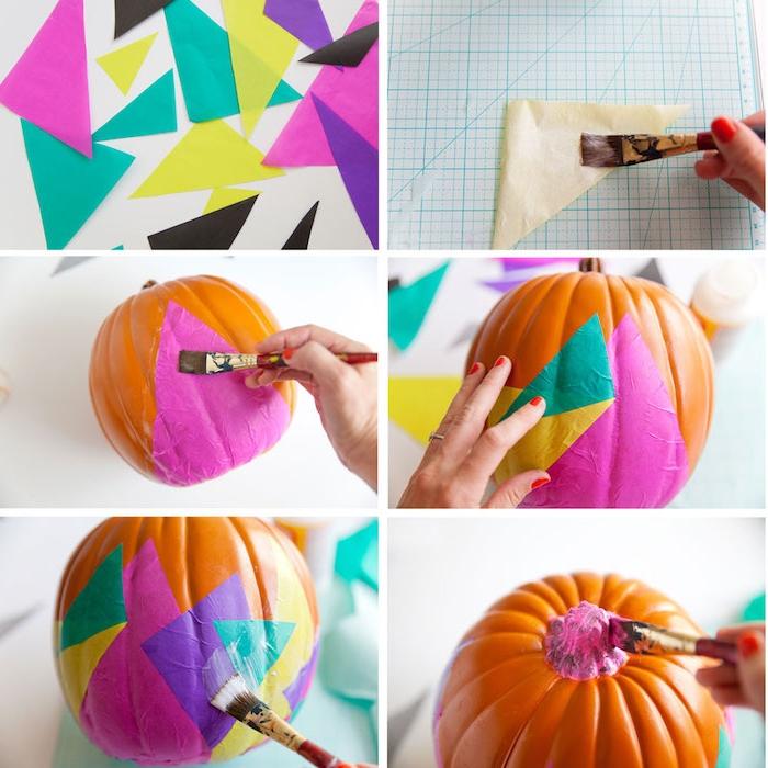 idée découpage avec des bouts de papier coloré en triangles à coller sur une citrouille halloween orange, activite manuelle facile