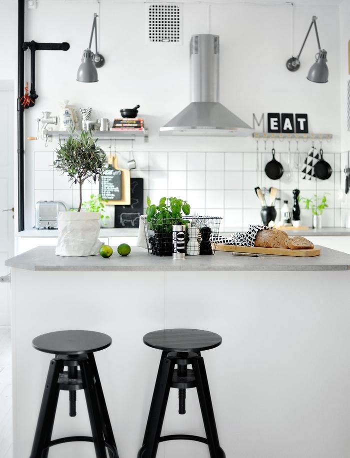 cuisine au design moderne scandinave en noir et blanc et aux accents typiques pour la deco industriels
