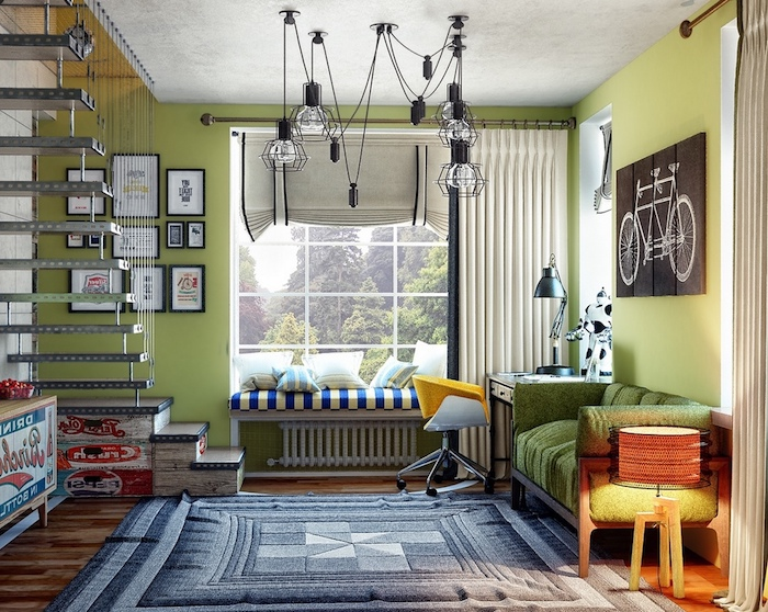 aménagement de chambre à coucher aux murs verts et escalier en nuance métallique, peinture vélo sur bois