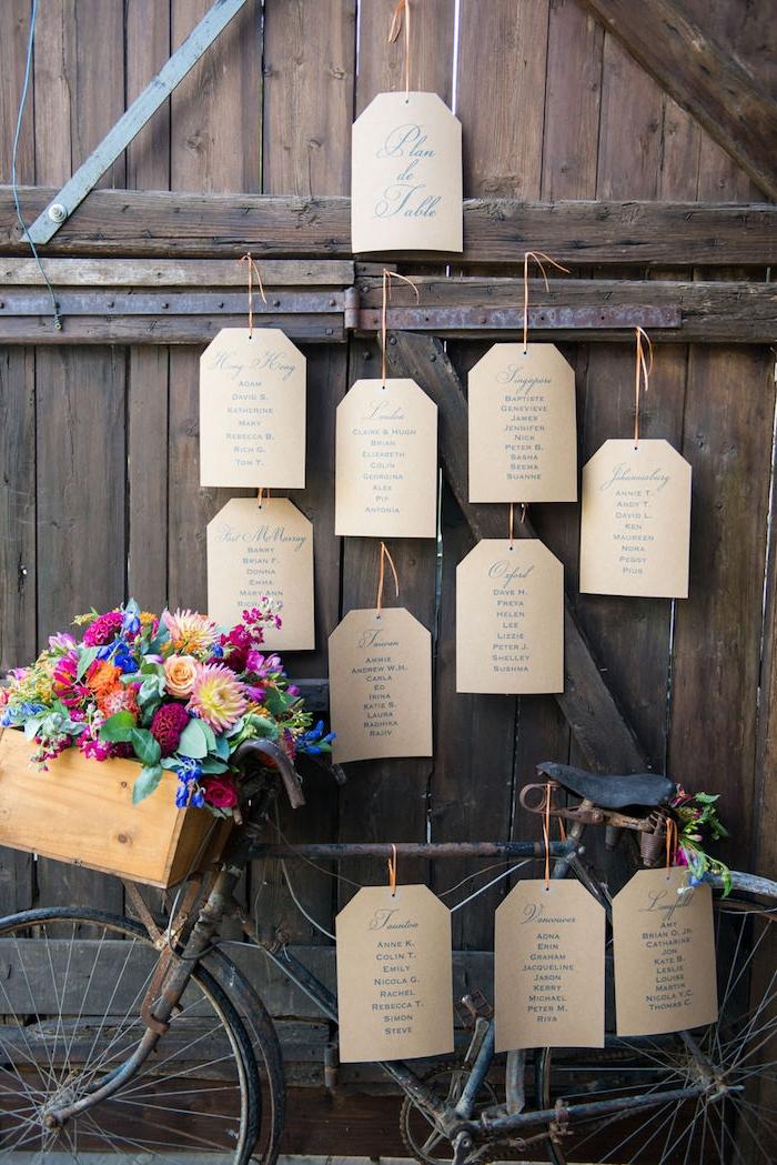 exemple de deco mariage champetre, velo, bicyclette vintage avec des étiquettes vélo, oanier en bois avec des fleurs dedans, portes en bois