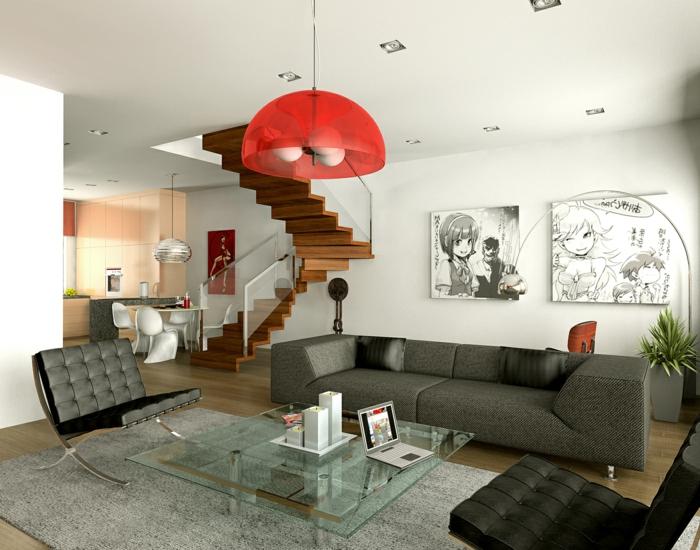 deco salon moderne, sofa gris contemporain, plafonnier rouge, tapis gris clair, table basse en verre