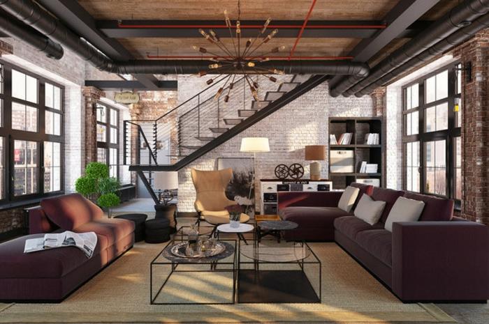 deco salon moderne, sofa pourpre, escalier industriel, grandes fenêtres, mur en briques blanches