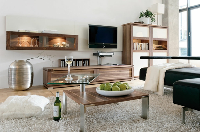 deco salon moderne, étagère murale avec vitrine, meuble de tv en bois, tapis moelleux