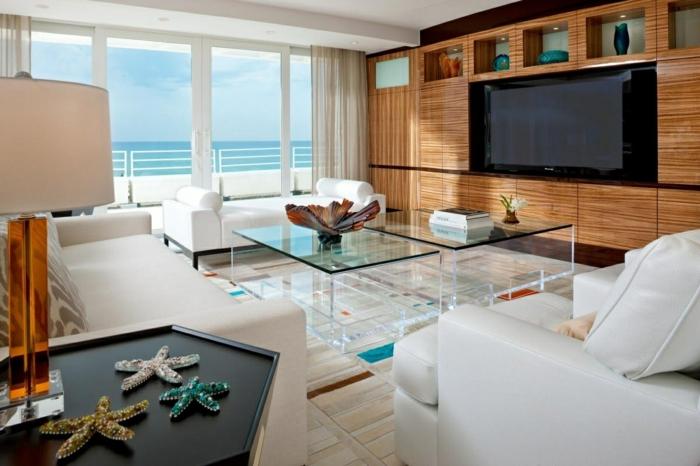 deco salon zen, salon à thème marin, tables basses en verre, tapis patchwork en couleurs claires, belle vue