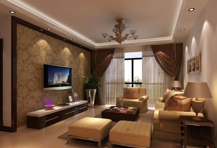 deco salon zen, tabourets beiges, meuble de tv, papier peint vintage, faux plafond lumineux