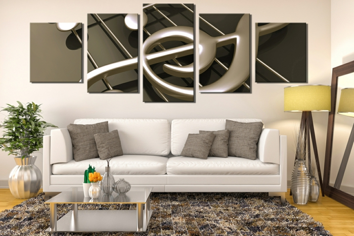 deco salon zen, tapis patchwork, petite table basse, tableau décoratif moderne, canapé blanc contemporain