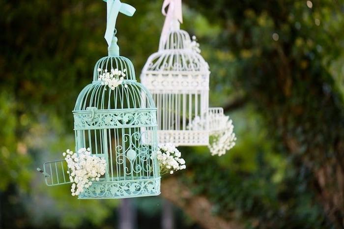 deco mariage champetre, shabby chic, cagette oiseau couleur bleue et blanche, decoration de fleurs blanches simples