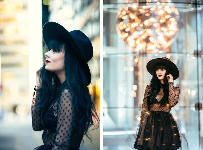 deguisement femme sorciere, robe noire avec corsage transparent et jupe tutu, chapeau noir à grand bord, cheveux noirs