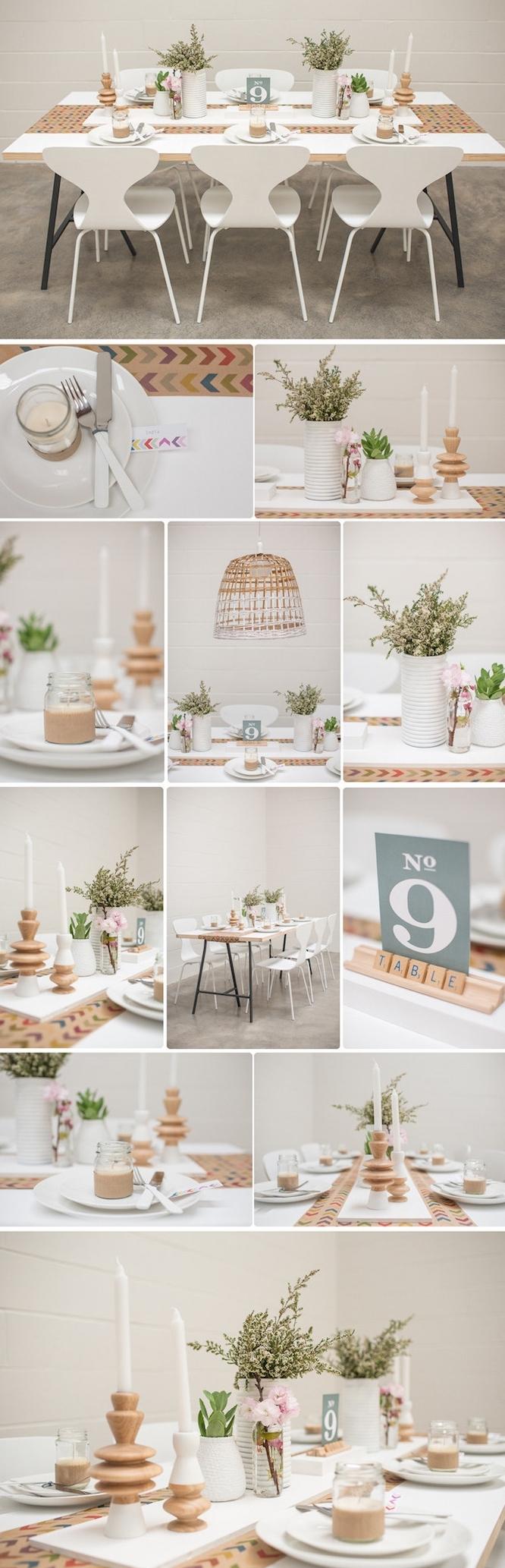 deco table mariage avec des pots en verre, transformés en bougeoirs, vases de fleurs, bougies blaches, suspension originale,