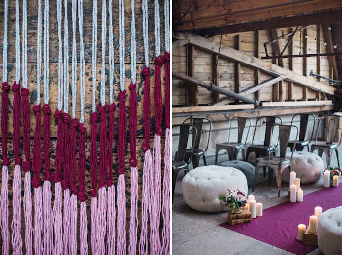 deco salle mariage, macramé rose, rouge et gris, tapis fuschia, chaises metalliques, poufs gris, bougies et bouquins vintage