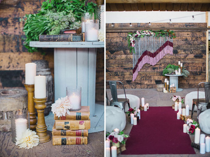 deco salle amriage a faire soi meme, bouquins vintage, bougeoirs, bougeoirs avec des bougies blanches, touret deco, tapis rouge, fond en bois et decoration de macramé