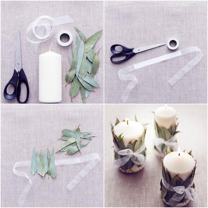 deco mariage a faire soi meme, tutoriel simple, bougie blanches, décorées de feuilles d eucalypte et ruban vlanc