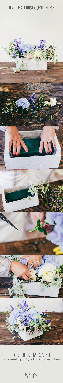 diy mariage tutoriel pour fabriquer un centre de table fleuri, caisse en bois avec une mousse florale et composition florale