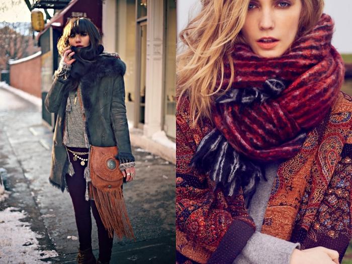 pull en laine, écharpe longue en rouge foncé et rouge clair, coiffure cheveux brun avec frange, blouse grise avec pantalon slim foncé