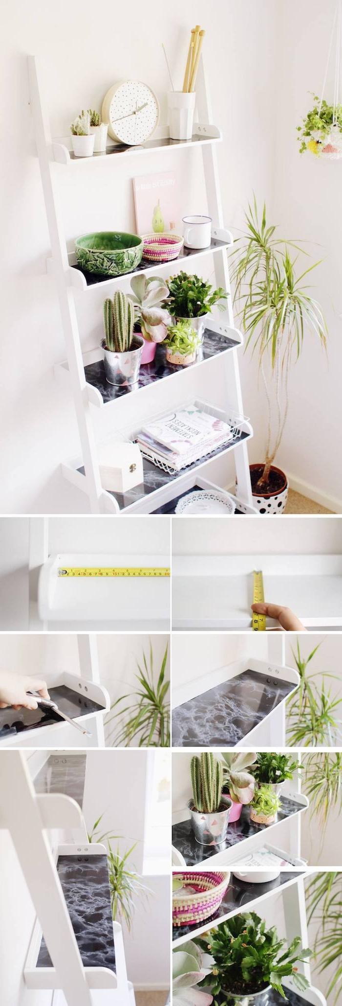 étagère échelle avec des rangements idée comment customiser une echelle, ranger des accessoires deco et pots de fleurs