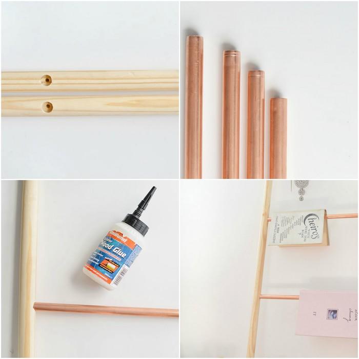 idée comment fabriquer une échelle décorative bois en manches a balai et tubes en cuivre, technique bricolage facile, rangement livres, magazines, accessoires deco