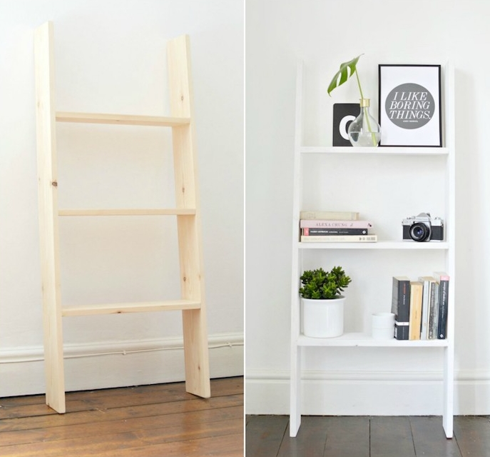 idée comment repeindre une echelle en bois de couleur blanche, rangement livres, plante verte, appareil photo et vase origina;