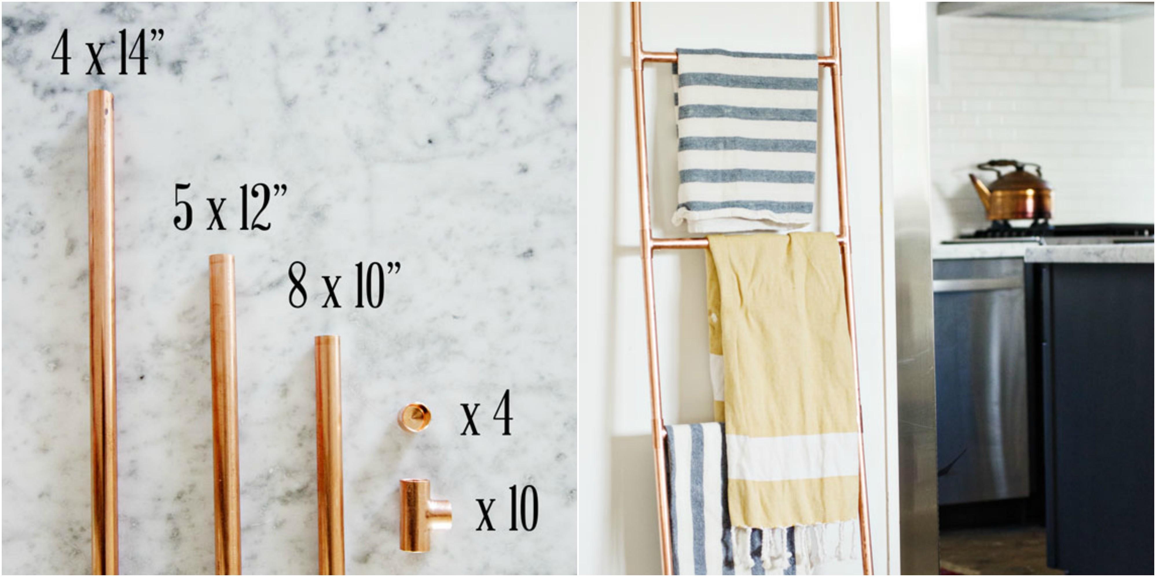 echelle porte serviette et couvertures en tubes en cuivre à assembler, un accent décoratif pour la cuisine
