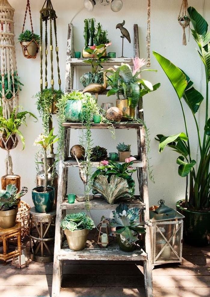 étagère échelle, effet patine bois, rangement plantes, pots de fleurs à l extérieur, ambiance boheme naturelle