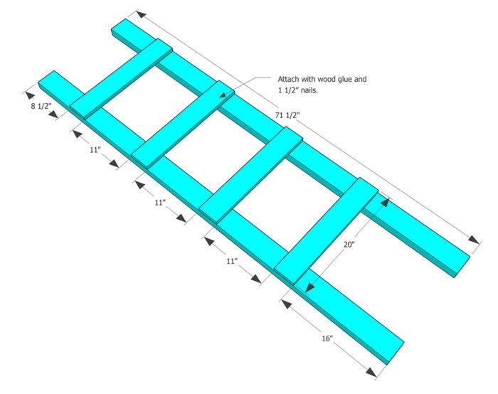 schéma simple pour faire une echelle en bois, dimensions, espace à laisser entre les marches, idée de diy rangement