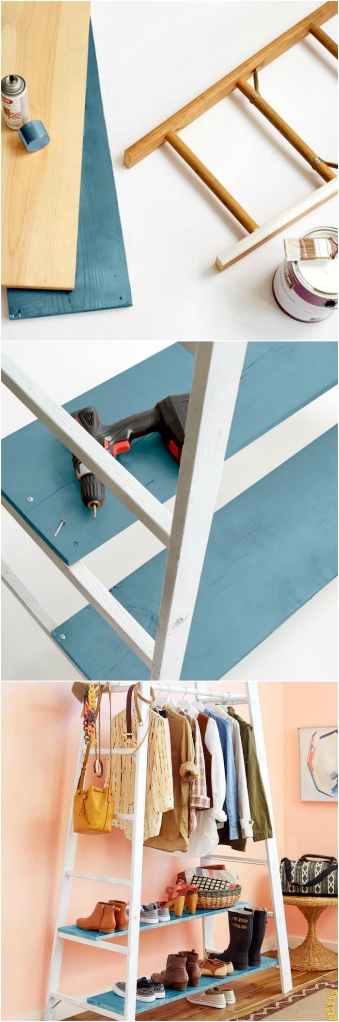 technique pour fabriquer une dressing pratique, en échelle démontée et repeinte en blanc et des rangements ajoutés en planches de bois repeints en bleu
