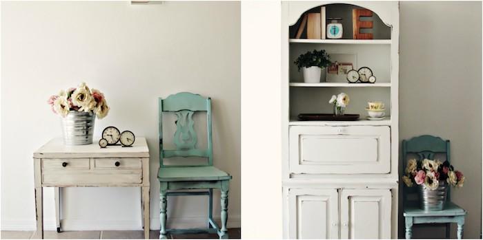 patine meuble, console et buffet patinés en blanc, chaise bleu-vert vieillie, bouquet de fleurs et decoration vintage chic