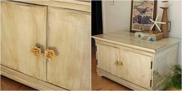 idée comment patiner un meuble, commode vintage repeinte en blanc et décorée de teinture pour bois