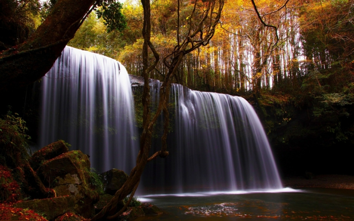 fond d'écran gratuit automne, chute d'eau magnifique dans une forêt magique
