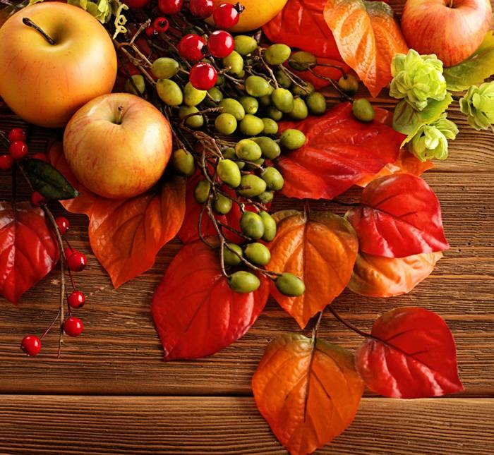 fond ecran automne, les offres de l'automne, des pommes, des fruits et des feuilles sèches
