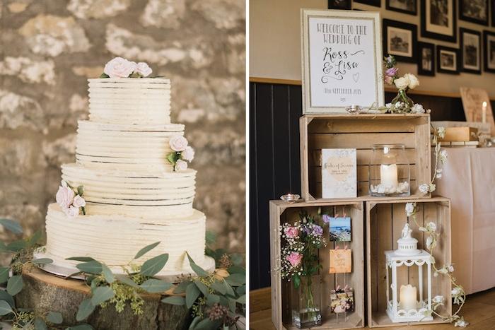 idee deco mariage, cagettes en bois brut avec decoration lanterne, bougeoir, vases de fleurs, gateau sur une rondelle en bois